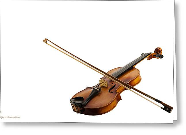 Fiddle And Bow On White Greeting Card