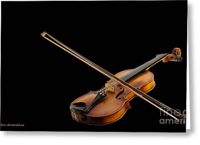Fiddle And Bow Greeting Card by Torbjorn Swenelius
