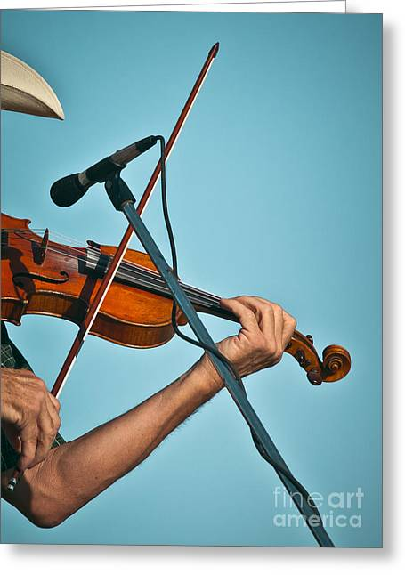 Fiddler On Blue Greeting Card by Robert Frederick
