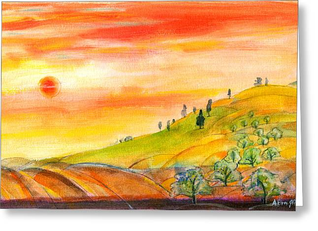 Greeting Card featuring the painting Field And Sunset by Mary Armstrong