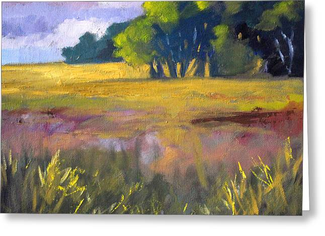Field Grass Landscape Painting Greeting Card