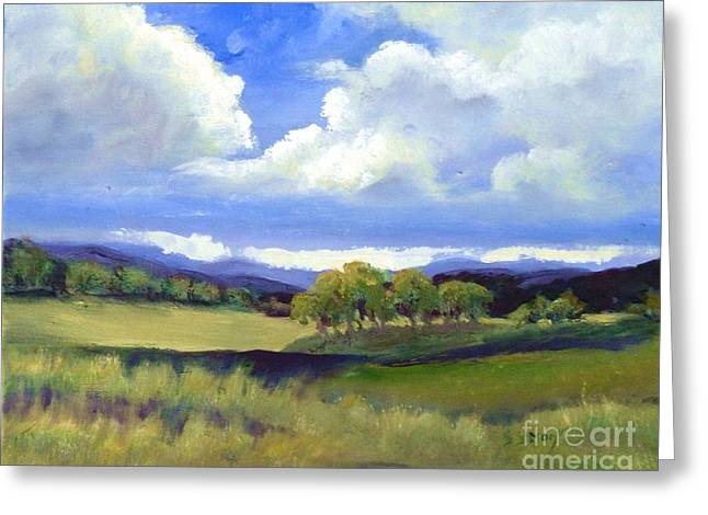 Greeting Card featuring the painting Field In Spring by Sally Simon