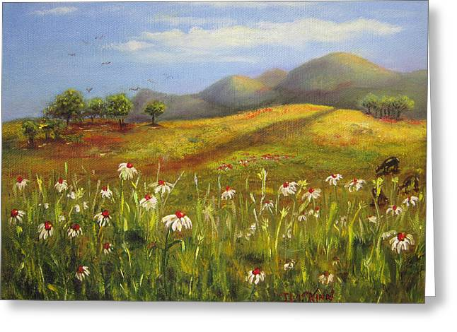 Field Of Daisies Greeting Card by Dottie Kinn