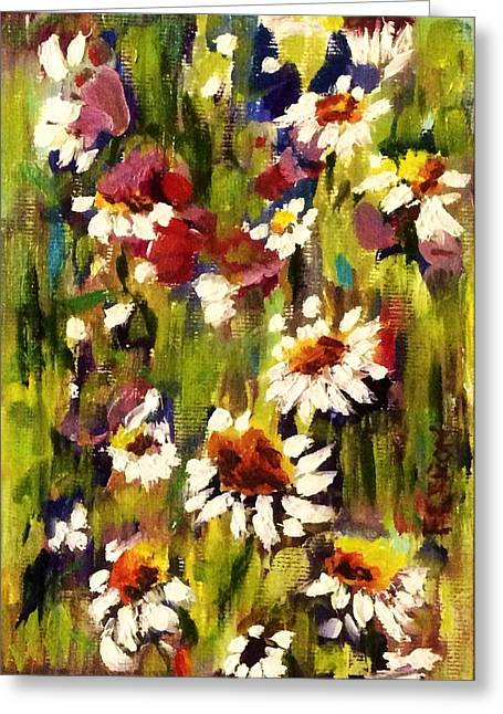 Greeting Card featuring the painting Field Of Daisies by Patti Ferron