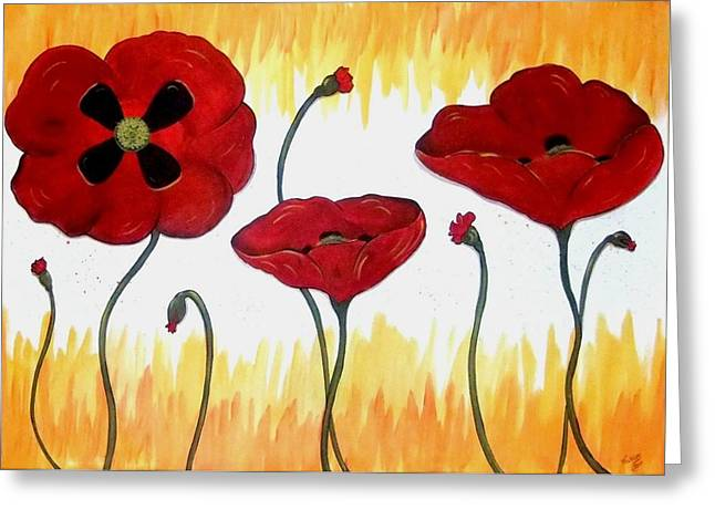 Greeting Card featuring the painting Field Of Fire by Cindy Micklos