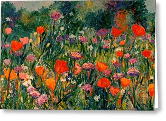 Field Of Flowers Greeting Card by Kendall Kessler