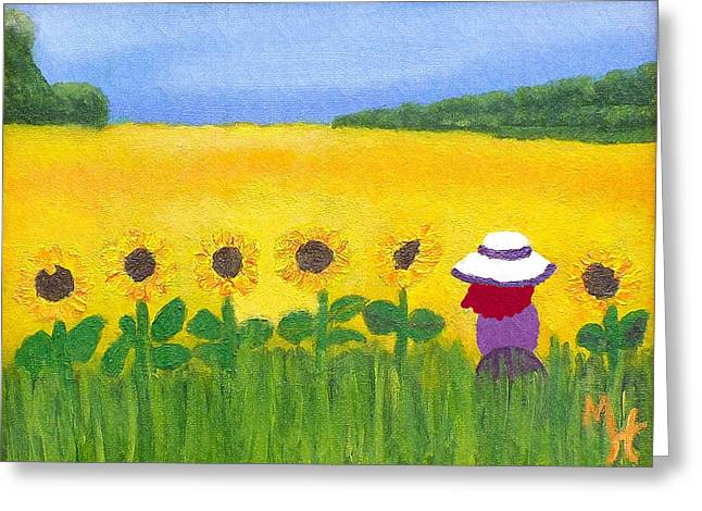 Field Of Gold Greeting Card by Margaret Harmon