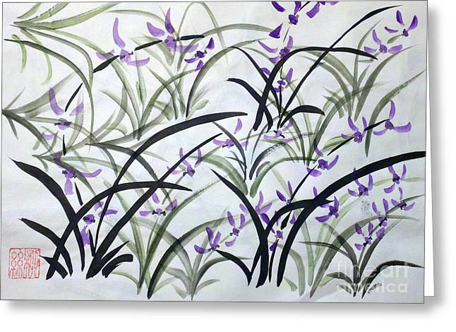 Field Of Orchids Greeting Card