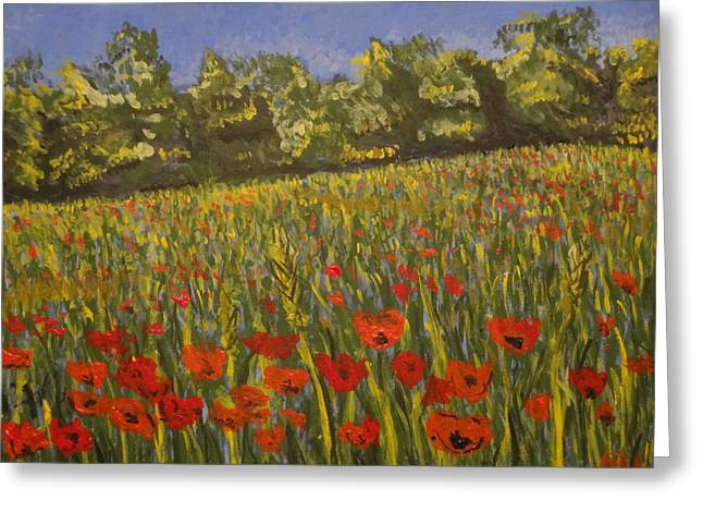 Field Of Poppies Greeting Card by Paul Benson