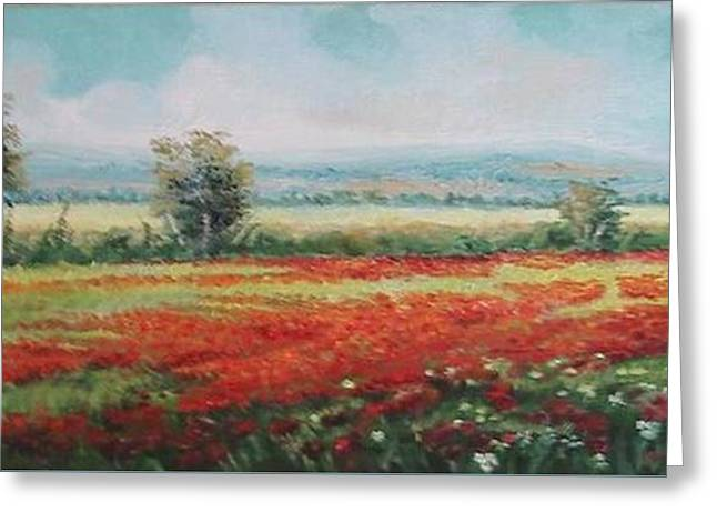 Field Of Poppies Greeting Card by Sorin Apostolescu