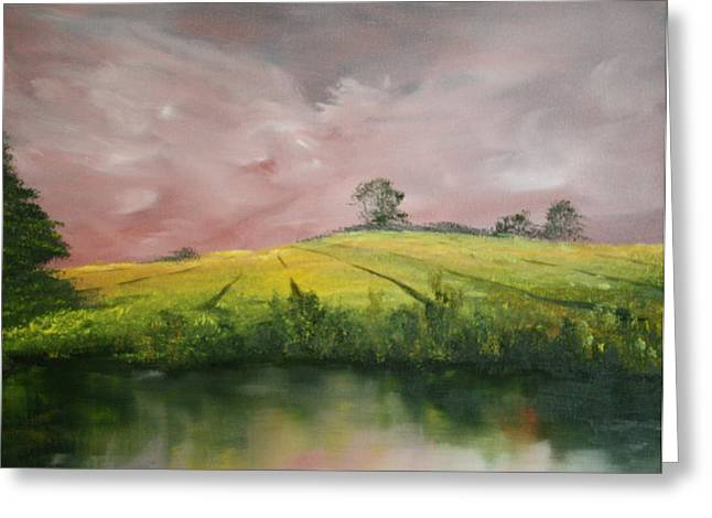 Greeting Card featuring the painting Field Of Rapeseed Oil by Jean Walker