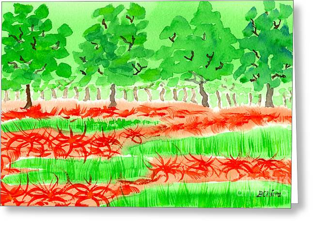 Field Of Red Spider Lilies Greeting Card by Beverly Claire Kaiya