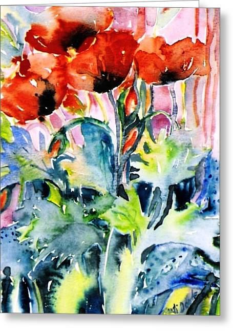 Field Poppies Greeting Card by Trudi Doyle