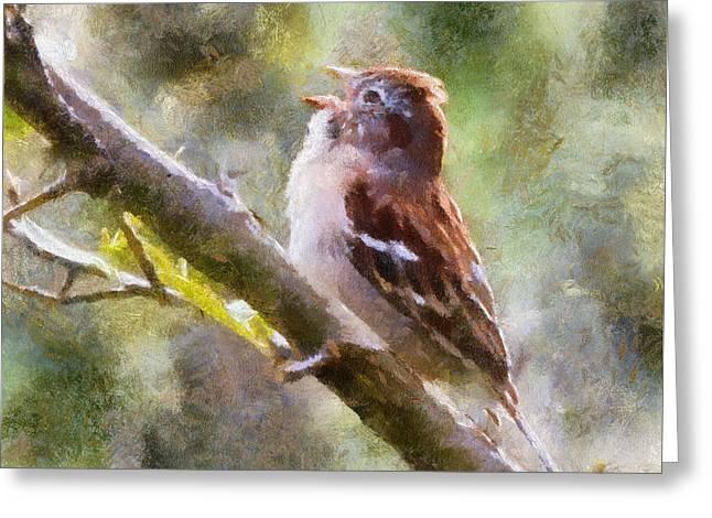 Field Sparrow Sings Greeting Card by Kerri Farley