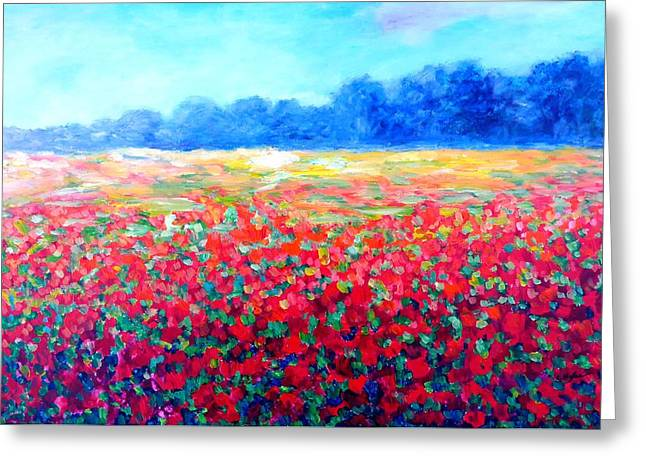 Field With Red Poppies Greeting Card