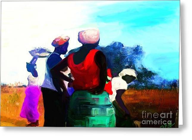 Greeting Card featuring the painting Field Women by Vannetta Ferguson