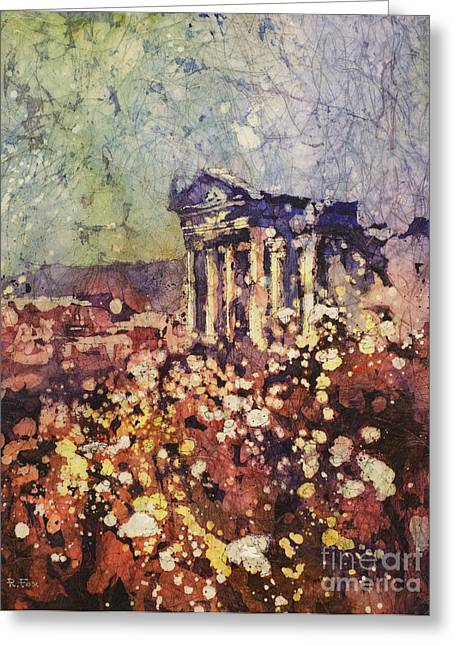Fields Of Flower- And Roman Temple Greeting Card