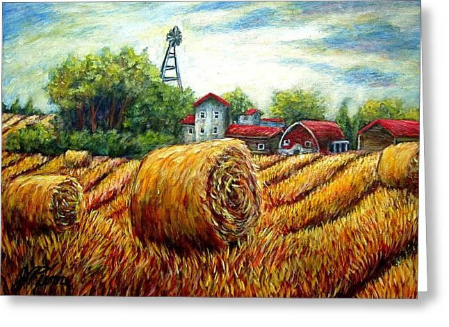 Fields Of Hay Greeting Card by Sebastian Pierre