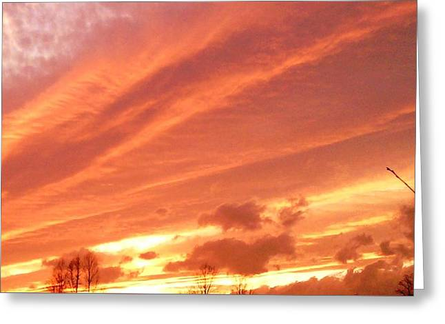 Greeting Card featuring the photograph Fiery Goodbye by Carlee Ojeda
