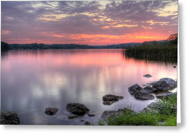 Fiery Lake Sunset Greeting Card
