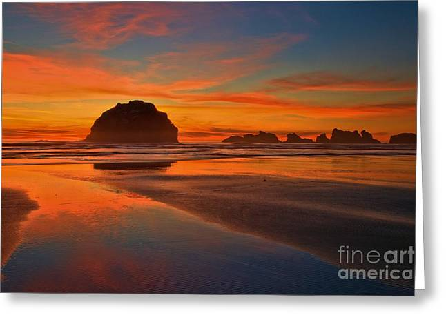Fiery Ocean Stream Greeting Card by Adam Jewell