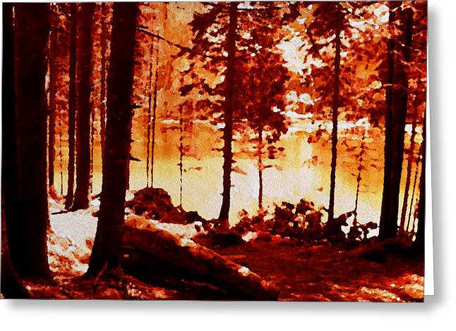 Fiery Red Landscape Greeting Card