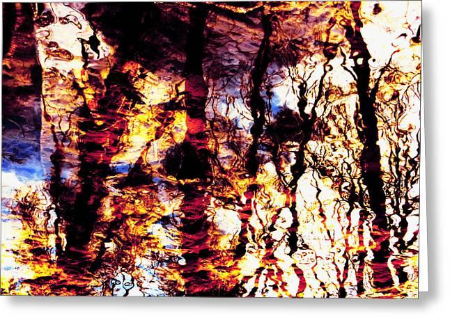 Fiery Reflections Greeting Card by Shawna Rowe