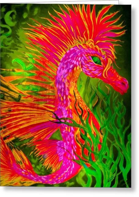 Fiery Sea Horse Greeting Card by Adria Trail