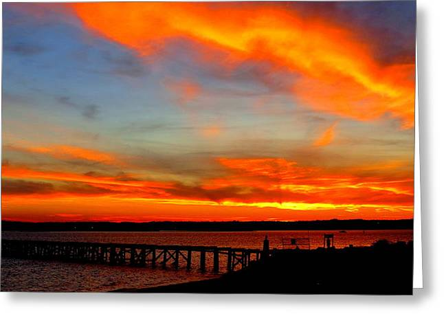 Fiery Skies And Silhouetted Pier Greeting Card