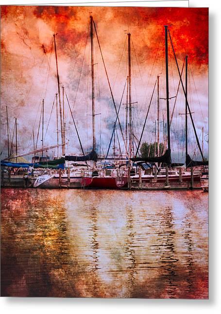 Fiery Skies Greeting Card by Debra and Dave Vanderlaan