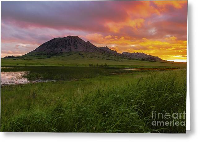Fiery Sky Over Bear Butte Greeting Card