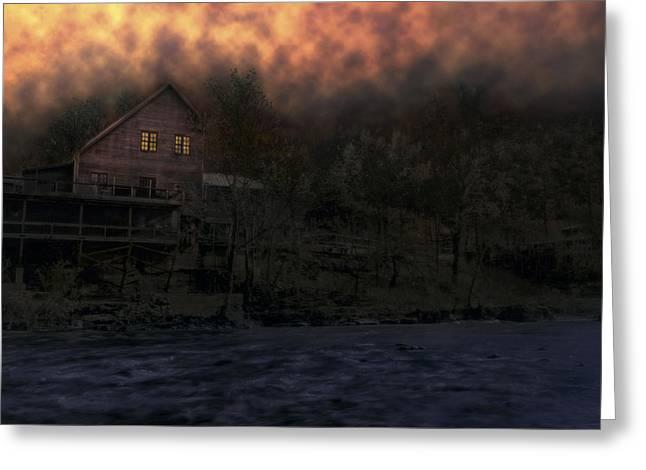 Fiery Sky Over Dawt Mill - Missouri Greeting Card by Jason Politte