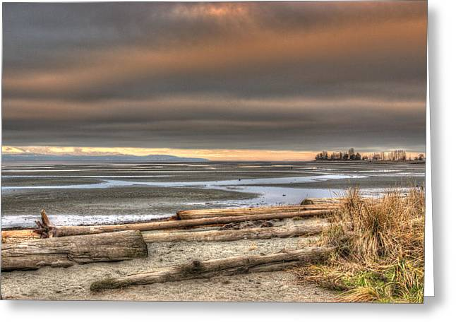 Fiery Sky Over The Salish Sea Greeting Card by Randy Hall