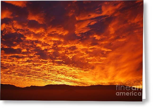 Fiery Sky Greeting Card by Susan Hernandez