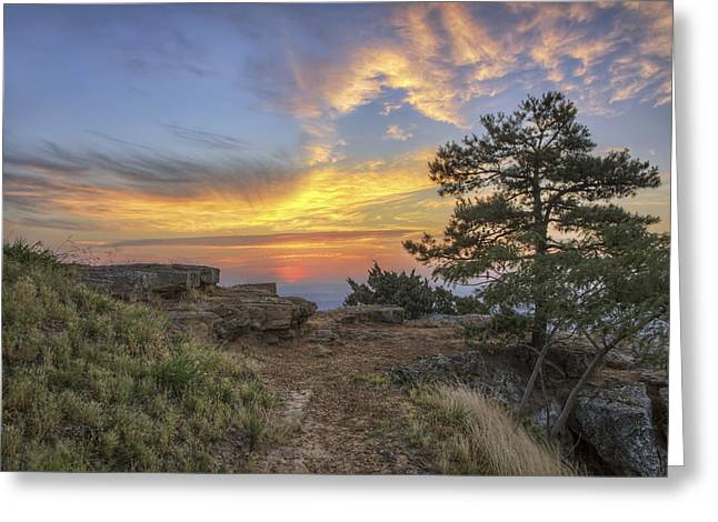 Fiery Sunrise From Atop Mt. Nebo - Arkansas Greeting Card