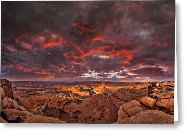 Fiery Sunrise Over Dead Horse Point State Park Greeting Card by Sebastien Coursol