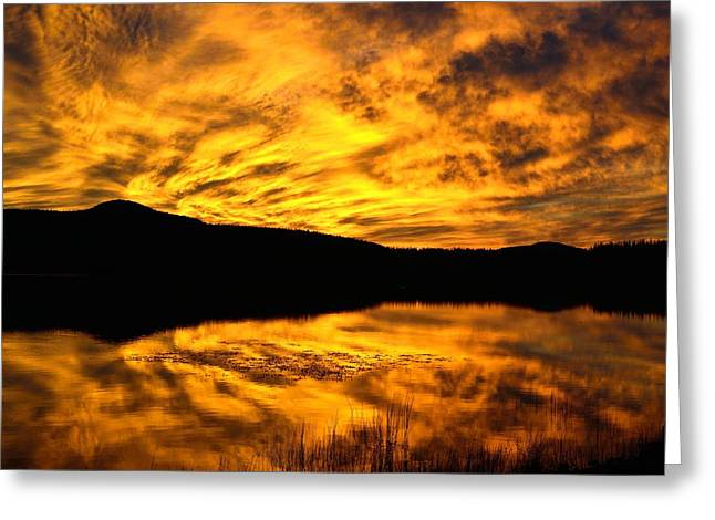 Fiery Sunrise Over Medicine Lake Greeting Card by Rich Rauenzahn