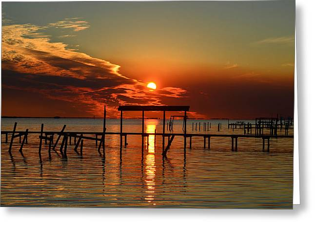 Greeting Card featuring the photograph Fiery Sunset Colors Over Santa Rosa Sound by Jeff at JSJ Photography