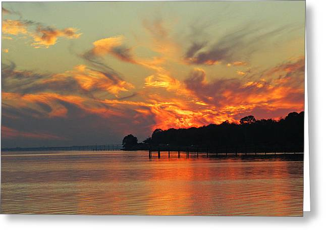 Fiery Sunset Greeting Card by Nicole I Hamilton