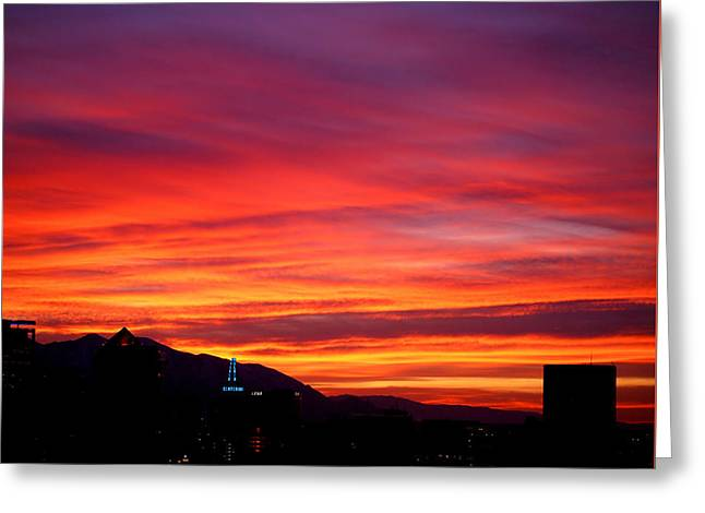 Fiery Sunset Greeting Card by Rona Black
