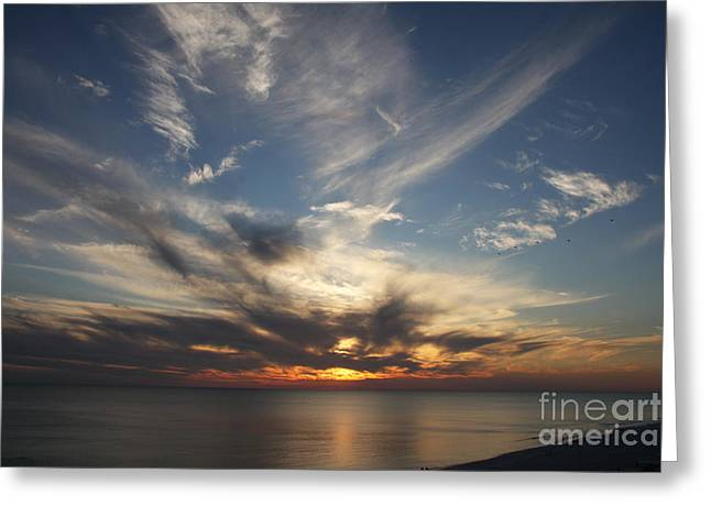 Fiery Sunset Skys Greeting Card by Christiane Schulze Art And Photography