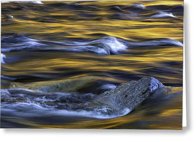 Fiery Swirls Of The Swift River-nature Abstract By Thomas Schoeller  Greeting Card by Thomas Schoeller