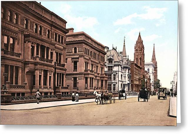 Fifth Avenue At Fifty First Street New York 1900 Greeting Card by Unknown