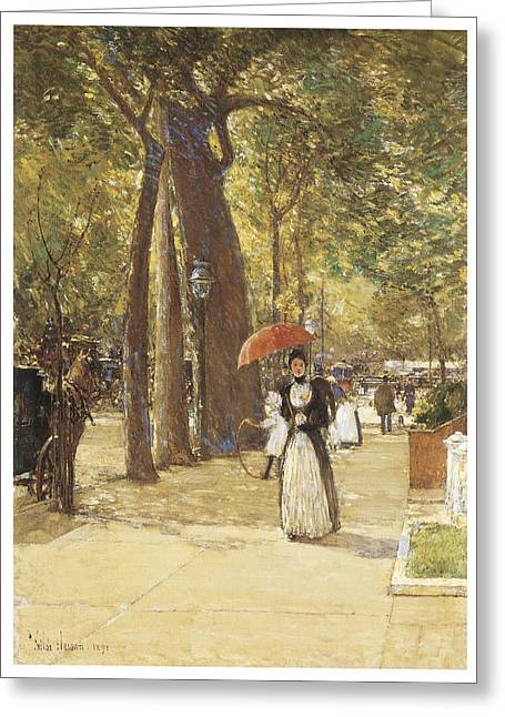 Fifth Avenue At Washington Square Greeting Card by Childe Hassam