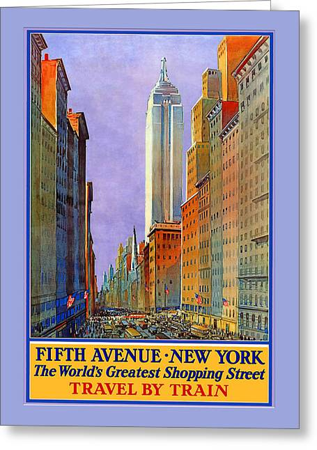 Fifth Avenue  New York Travel Poster Greeting Card by Denise Beverly