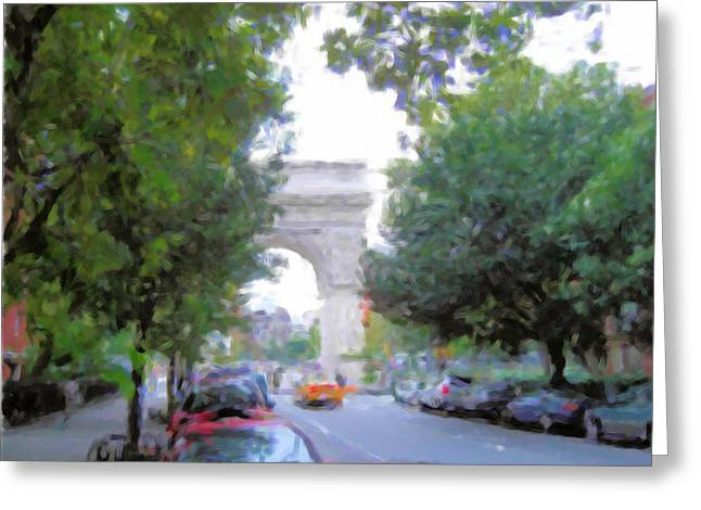Fifth Avenue Washington Arch View Greeting Card by Bud Anderson