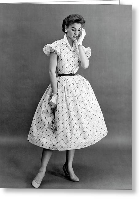 Fifties Fashion Dress Greeting Card by Underwood Archives