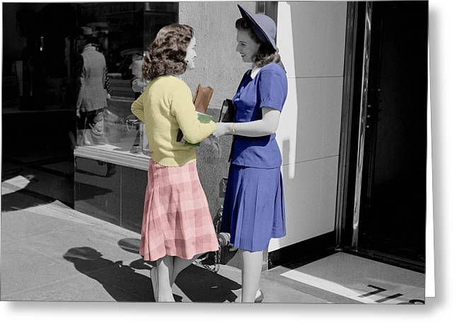 Fifties Girls Greeting Card by Andrew Fare