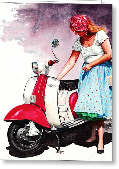 Fifties Lambretta Girl Greeting Card