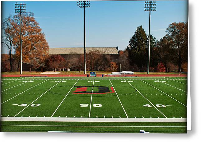 Fifty Yard Line At Richardson Stadium - Davidson College Greeting Card by Paulette B Wright
